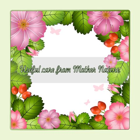 Beautiful advertising frame of bright pink flowers, berries and rosehip leaves, vector. Excellent as a background for the production of any printed product, web pages, advertising, or other design.