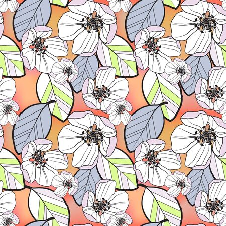 Beautiful seamless abstract pattern of small white and lilac apple flowers and colored leaves, on orange-yellow gradient background, vector. Great for decorating fabrics, textiles, gift wrapping etc. Illustration