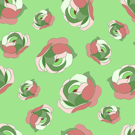 Seamless abstract pattern of multi-colored peonies, on a light green background. Great for decorating fabrics, textiles, gift wrapping design, any printed materials, including advertising. Vectores