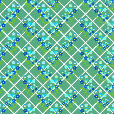 Seamless floral pattern of blue-violet twigs of forget-me-not flowers, on a background with green squares, rhombuses. Great for decorating fabrics, textiles, gift wrapping, printed materials or other. Stock Illustratie