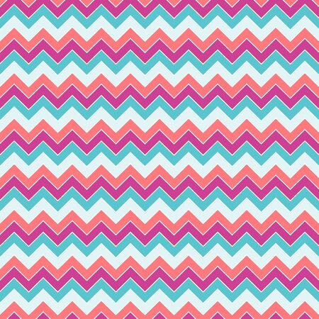 Seamless pattern of broken lines in fuchsia, coral, turquoise and pale blue, on a white background, zigzag.  Great for decorating fabrics, textiles, gift wrapping, printed materials, advertising.