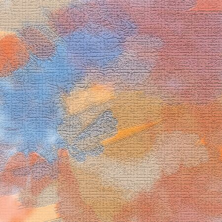 Abstract background of blue and tan, ocher, imitation of careless strokes of paint on the wall, craquelure. Excellent as a background for the production of printed product, advertising, or other. Stockfoto