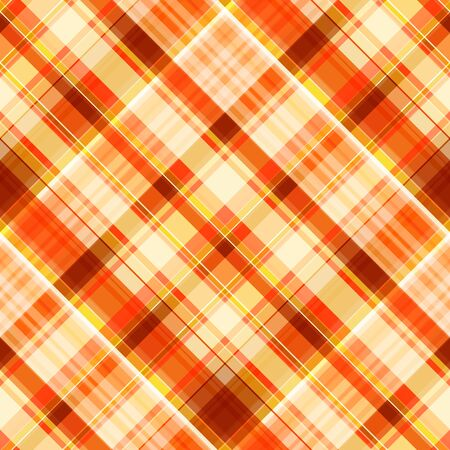 Seamless oblique diagonal cage pattern. Checkered pattern of orange, lemon cream, red and white stripes, plaid. Great for decorating fabrics, textiles, gift wrapping, printed materials, advertising.