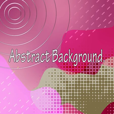 Abstract colored background. Flowing, wavy spots of pink, swamp and bright purplish red. Geometric patterns, circles, dots, lines, on a gradient background color magenta.