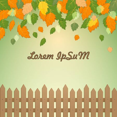 Beautiful autumn background. Brown wooden fence, falling orange, tangerine and green leaves, yellow-green gradient background. Great as a background for a poster, web pages, advertising, or other.  イラスト・ベクター素材