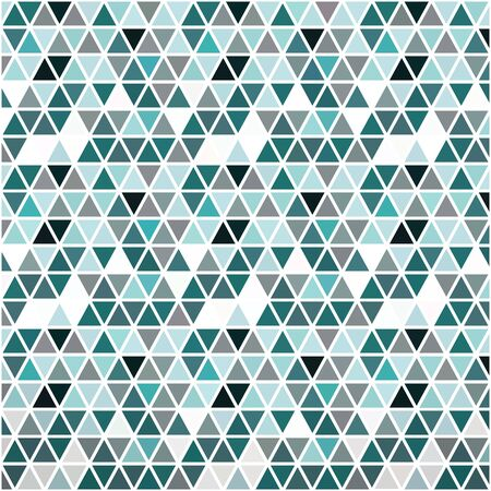 Geometric background mosaic of many triangles of blue-green, gray and white colors, on a white background. Ideal for creating web pages, any printed materials, advertising or other design.