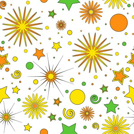 Seamless pattern for childrens items of orange-yellow and green dots, stars, curls and flowers, on a white background, vector. Great for decorating fabrics, textiles, gift wrapping, printed materials