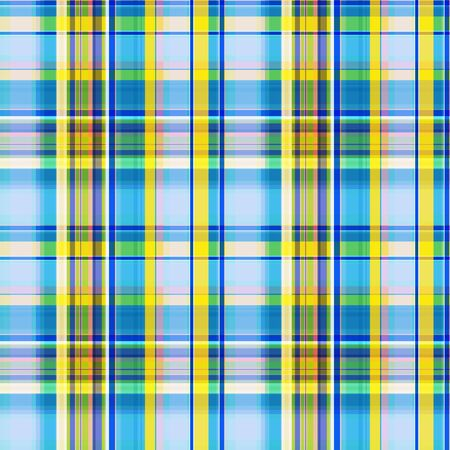 Bright blue yellow with green and pink seamless pattern intersecting at right angles to the stripes. Checkered pattern, plaid, vector. Great for decorating fabrics, gift wrapping, printed materials. Фото со стока - 129818670
