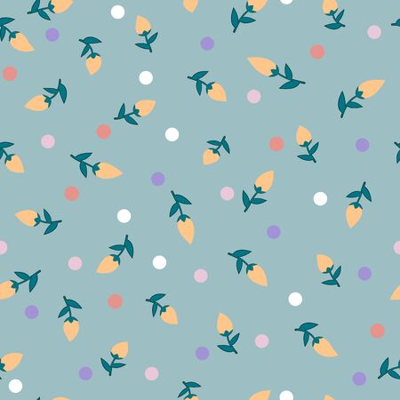 Seamless pattern of abstract light orange flower buds with blue-green leaves and colorful dots, vector. Great for decorating fabrics, textiles, gift wrapping, printed materials, advertising.