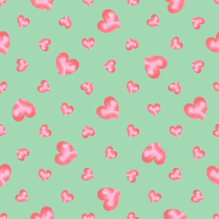 Seamless pattern of pink watercolor hearts of different size, on a mint background. Great for decorating fabrics, textiles, gift wrapping design, any printed materials, including advertising.  イラスト・ベクター素材