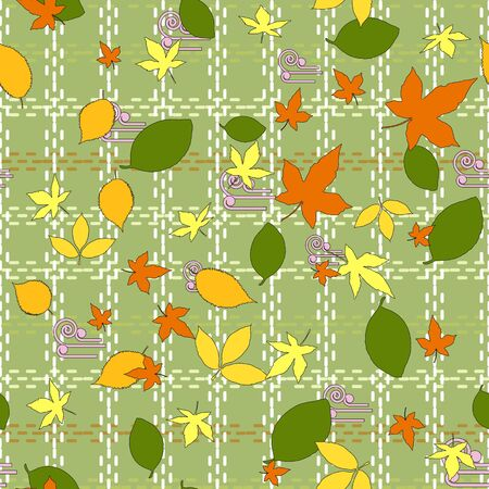 Seamless pattern of autumn green, orange and yellow leaves of maple, elm, beech and linden. Olive background with a cell from light dotted lines. Great for fabrics, gift wrapping, printed materials.