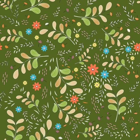 Seamless floral pattern of large olive-orange branches and small colored elements in the form of flowers, leaves, light twigs and pink dashes, punctures. Dark olive background. Great for textiles.