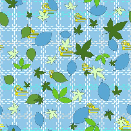 Floral seamless pattern of blue, dark and light green leaves. Cornflower blue background with a light cell from dotted lines. Great for decorating fabrics, gift wrapping, printed materials.  イラスト・ベクター素材