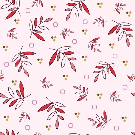 Floral seamless pattern of burgundy twigs with red and purplish-pink leaves, colored small elements, pale pink background. Great for decorating fabrics, gift wrapping, printed materials, advertising.