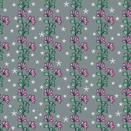 Vertical seamless floral pattern. Bright abstract pink flowers with green leaves, white snowflake stars, gray background. Great for decorating fabrics, gift wrapping, printed materials, advertising.  イラスト・ベクター素材