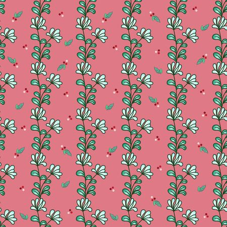 Vertical seamless pattern of twigs with pale blue flowers and green leaves, small elements in the form of red berries and leaves, purple-pink background. Great for decorating fabrics, printed material