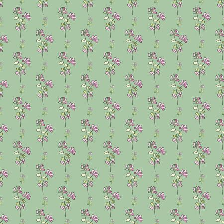 Seamless floral pattern, flowers with pink and purple petals, yellow-green leaves, green background. Great for decorating fabrics, textiles, gift wrapping design, any printed materials, advertising.