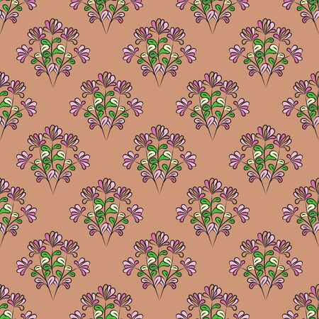 Seamless floral pattern with black contour, mauve flowers, yellow, green and pink leaves, brown-pink background, vector. Great for decorating fabrics, textiles, gift wrapping, printed materials.  イラスト・ベクター素材