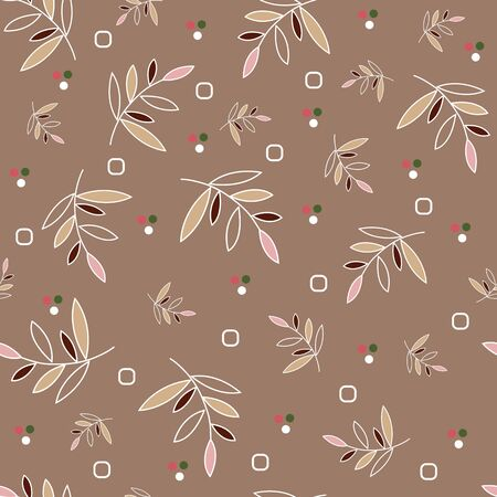Seamless floral pattern. Colored leaves on a white twig, small elements in the form of dots and circles, tan background.Great for decorating fabrics, textiles, gift wrapping, printed materials.
