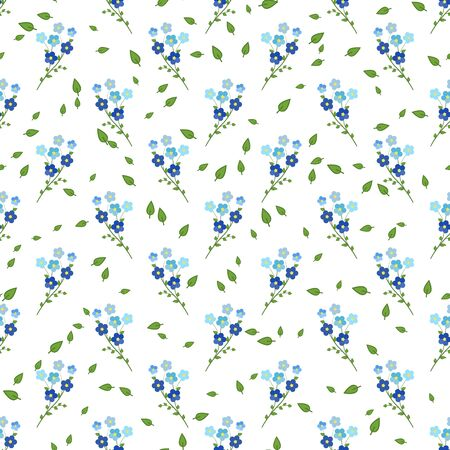 Seamless floral pattern of blue-and-purple twigs of forget-me-not flowers, on white background. Great for decorating fabrics, textiles, gift wrapping design, any printed materials and advertising.  イラスト・ベクター素材