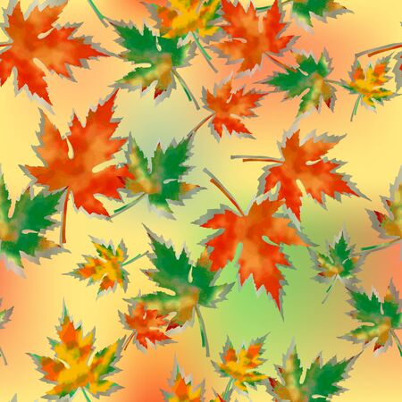 Seamless pattern of autumn maple leaves, on a colored spotted background. Saturated orange, red and green colors, gray shades.