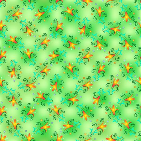 Pattern of orange-yellow lilies and turquoise leaves, curls and colored stars, seamless print, vector. Great for decorating fabrics, textiles, gift wrapping, printed materials, advertising, or other.  イラスト・ベクター素材