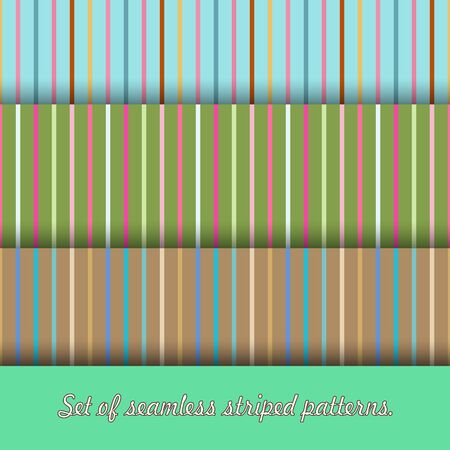 Set of three multicolored seamless stripes patterns. Primary colors are pink, blue, olive and brown. Great for decorating fabrics, textiles, gift wrapping design, any printed materials and advertising