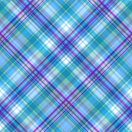 Seamless checkered pattern with a predominance of light blue and magenta shades, tartan pattern, vector. Great for decorating fabrics, textiles, gift wrapping, any printed materials, advertising.