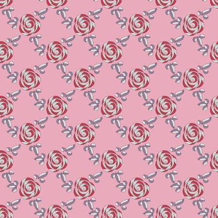 Seamless abstract floral pattern of roses with red-gray petals and purplish blue leaves, white stripes, very light magenta background. Great for decorating fabrics, gift wrapping, printed materials.