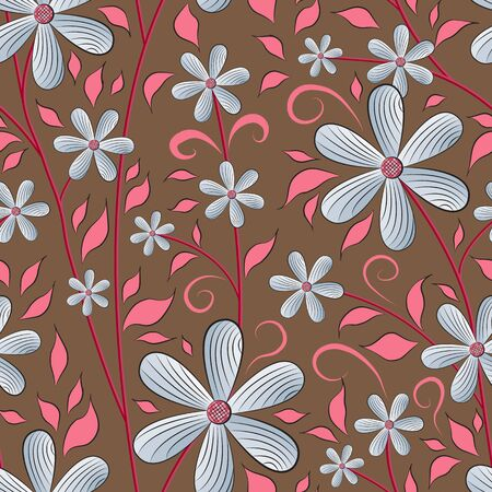 Seamless floral pattern, pale blue flowers, purplish pink leaves, carmine pink stems, brown background.  Great for decorating fabrics, textiles, gift wrapping design, any printed materials. Illusztráció