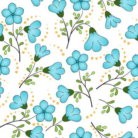 Naadloze bloemmotief van turquoise blauwe vlas bloemen, zwarte twijgen met geel-groene bladeren, gele stippen, witte achtergrond. De print is zeer geschikt voor stoffen decor, drukwerk of reclame.