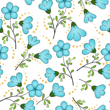 Seamless floral pattern of turquoise blue flax flowers, black twigs with yellow-green leaves, yellow dots, white background. The print is well suited for fabric decor, printed matter, or advertising. Stock Illustratie