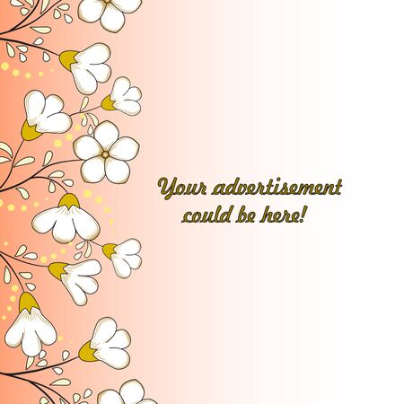 Floral background. Vertical border of white with yellow flowers, yellow dots and leaves. Tangerine with a white background, gradient. Great as a background for a poster, web pages, advertising, etc.
