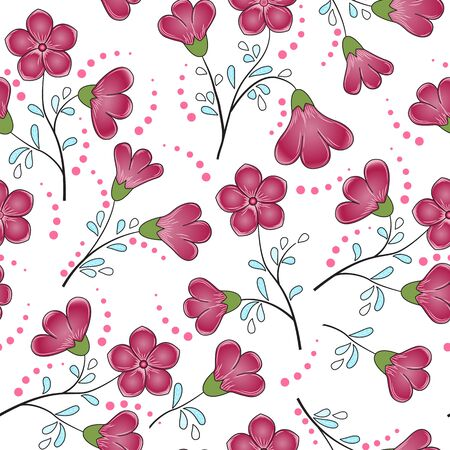 Floral seamless pattern. Bright carmine with pink flowers, light blue and green leaves, pink dots, white background. Great for decorating fabrics, textiles, gift wrapping, printed materials, adv.