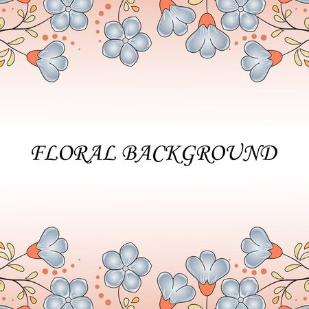 Spring abstract floral background, pastel colors, flax flowers manatee color, golden leaves with orange, dots, black outline. Pale background with place for text in the middle, ads, etc.