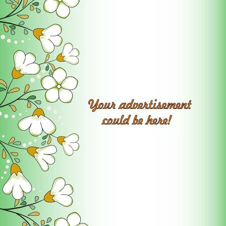 Abstract floral background, vertical border, white with yellow-green flowers, dots, yellow-orange, green leaves. Background for advertising, greetings, holiday invitations, etc. Ilustracja