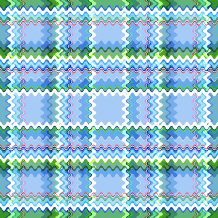 Seamless checkered pattern from the intersection of wavy stripes. Wide and thin stripes of white, green, red and various shades of blue. For the manufacture of modern, beautiful and quality products.