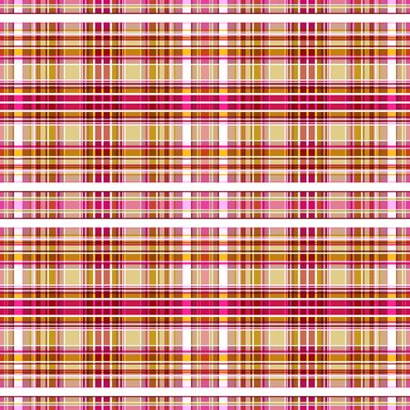 Seamless pattern of yellow-brown, purplish-red, pink cells alternating with white and ocher stripes. Great for decorating fabrics, textiles, gift wrapping design, any printed materials and advertising