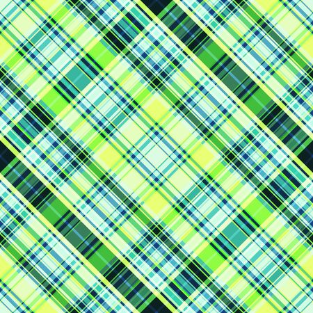 The diagonal intersection of dark and light stripes of yellow and green. Seamless checkered pattern, print. Great for decorating fabrics, textiles, gift wrapping, printed matter, interiors, ad. Stock Illustratie