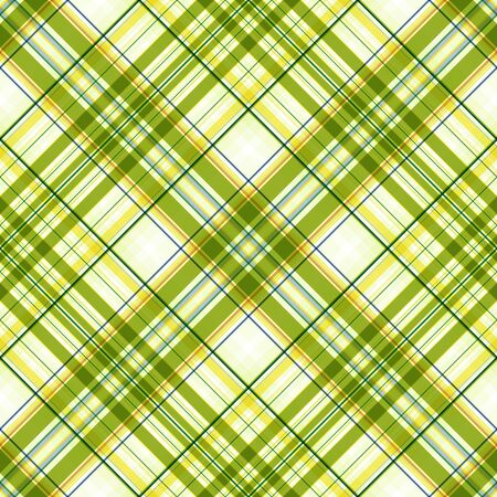 Summer bright print, checkered seamless diagonal pattern, stripes in yellow-green and white colors. Great for decorating fabrics, textiles, gift wrapping, printed matter, interiors, advertising.