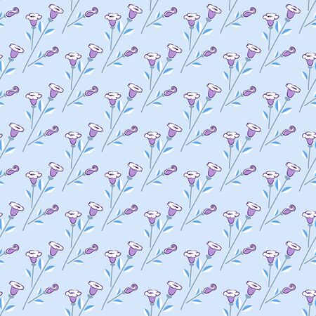 Seamless floral print from wisteria with white flowers, diagonal pattern, gray stems with white and cornflower leaves, lavender background. Ideal for any your bold design or advertising project.