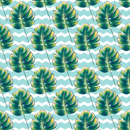 Seamless floral print of tropical leaves, monstera in green and yellow colors. Mint background with white zigzags. Fashionable and glamorous decoration of any of your bold advertising projects