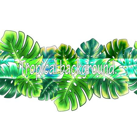 Horizontal seamless border of bright green leaves of monstera, tropical print on a white background. Great for decorating fabrics, textiles, gift wrapping, printed matter, interiors, advertising.