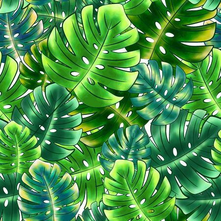 Bright seamless pattern from monstera, leaves from various shades of green, white background. Great for decorating fabrics, textiles, gift wrapping, printed matter, interiors, advertising.