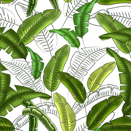 Seamless floral pattern of tropical banana leaves, shades of green, white background. Great for decorating fabrics, textiles, gift wrapping, printed matter, interiors, advertising.