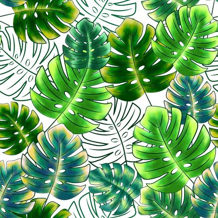 Seamless floral print of bright green leaves of monstera and their contours, white background. Great for decorating fabrics, textiles, gift wrapping, printed matter, interiors, advertising.