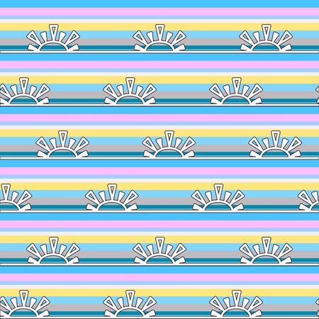 Seamless childish pattern. Bright horizontal borders from the sun on a bright colored striped background. Great for decorating fabrics, textiles, gift wrapping, printed matter, interiors, advertising. Vector Illustratie