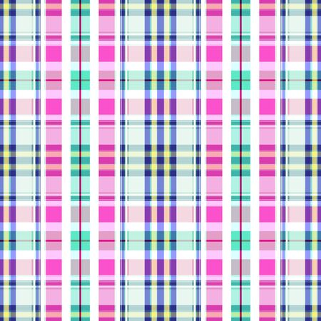Seamless checkered pattern formed by cells and stripes of white, blue, pink and mint colors. Great for decorating fabrics, textiles, gift wrapping, printed matter, interiors, advertising. Stock Illustratie