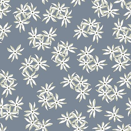 Seamless floral print, randomly arranged groups of white with olive flowers, gray background. Great for decorating fabrics, textiles, gift wrapping, printed matter, interiors, advertising.