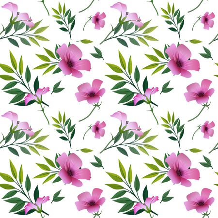 Seamless floral print, bright purple with pink flowers and green twigs with leaves, white background. Great for decorating fabrics, textiles, gift wrapping, printed matter, interiors, advertising.